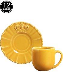 jogo de xãcaras de cafã© 12 pã§s windsor mostarda porto brasil - amarelo - dafiti