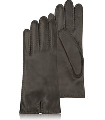 forzieri designer women's gloves, women's cashmere lined dark brown italian leather gloves