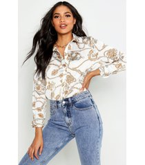 tall shirt met kettingprint, ivoor