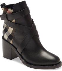 women's burberry pryle check block heel bootie, size 7us - black