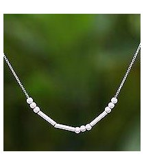 sterling silver necklace, 'morse smile' (thailand)