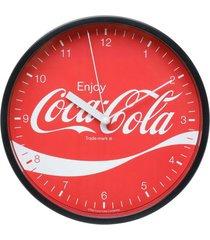 relógio de parede coca-cola enjoy vermelho e preto