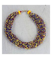 recycled glass torsade necklace, 'constellation of color' (ghana)