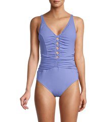 x by gottex women's cutout one-piece swimsuit - lavender - size 44 (14)