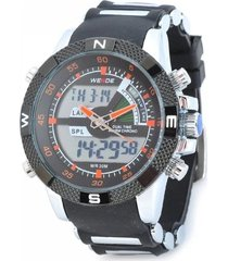 relógio  weide anadigi esporte wh-1104 preto/laranja