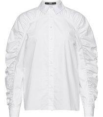 poplin blouse w/ gathering blus långärmad vit karl lagerfeld
