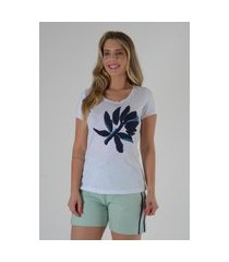 blusa mamorena t-shirt com bordado bicolor azul