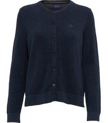 cotton pique cardigan gebreide trui cardigan blauw gant