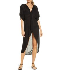 women's o'neill saltwater twist cover-up tunic dress, size medium - black