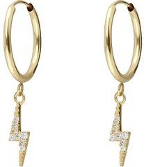 orecchini a cerchio in oro giallo e strass con saetta per donna