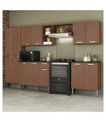 cozinha completa compacta c/ armário e balcáo c/ tampo 5 pçs pequim jazz multimóveis carvalho avelá
