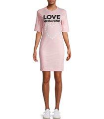 love moschino women's star & heart logo t-shirt dress - pink - size 38 (4)