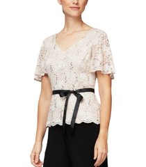 alex evenings lace flutter-sleeve top