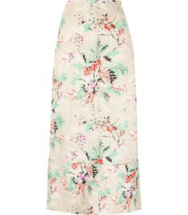 colville floral print midi skirt - neutrals