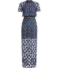 overlay lace maxi jurk