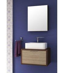 conjunto para banheiro vegas suspenso nogal malaga/carvalho batur bosi - marrom - dafiti