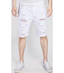 pantalones cortos casuales de mezclilla rectos lavados con agua para hombres jeans