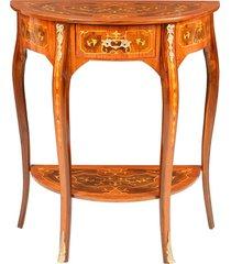 mesa meia lua luís xv de madeira com marchetaria e 1 gaveta