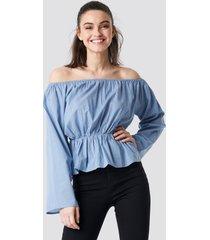 na-kd boho off shoulder flounce blouse - blue