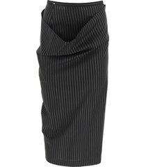 sportmax asymmetric pinstripe skirt