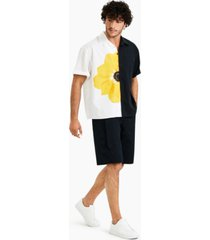 inc international concepts allen onyia men's oversized-fit stretch colorblocked floral bowling shirt, created for macy's