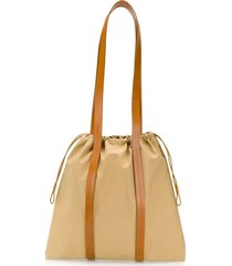 building block toggle fastened tote bag - neutrals
