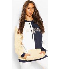 colourblock hoodie met tekst, indigo
