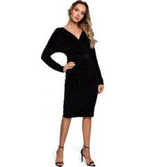 korte jurk moe m561 fluwelen wrap top jurk - zwart