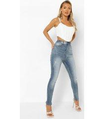 gebleekte skinny jeans met rits, mid blue