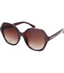 óculos de sol morena rosa sextavado lente degrade
