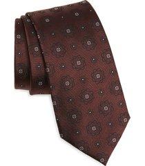 men's ermenegildo zegna medallion silk tie, size one size - red