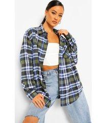geruite super oversized geborstelde blouse, navy