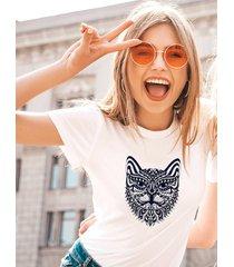 koszulka biała damska organiczna kocia twarz