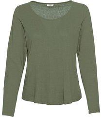 shirt met lange mouwen van bourette zijdenjersey, steengroen 36/38