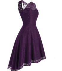 lace sleeveless high low prom dress
