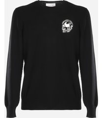alexander mcqueen wool sweater with skull patch