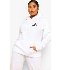 plus kerub nope hoodie met tekst en borstopdruk, white