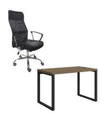 mesa escritório kappesberg 1.20m com cadeira presidente trevalla tl-cde-02-1b