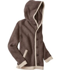 gebreide jas met capuchon uit biologische scheerwol, nougat xxl
