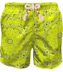 mc2 saint barth yellow fluo bandana man swim shorts
