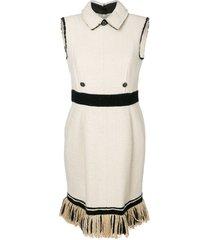 chanel pre-owned 2000 fringe trimmed dress - neutrals