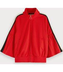 scotch & soda sporty pleated-sleeve track jacket