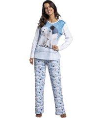 pijama recco de moletinho flanelado branco