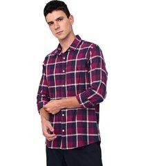 camisa reserva reta xadrez rosa/azul-marinho