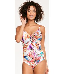 paradise bay tropical underwire twist front one-piece swimsuit