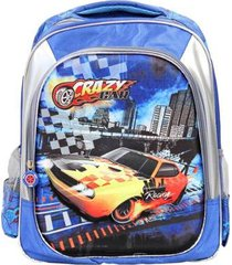 mochila infantil crazy car ls divisórias carros alto relevo - unissex
