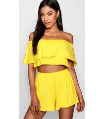 off the shoulder top + short co-ord set, yellow