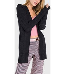 cardigan io liso negro  - calce regular