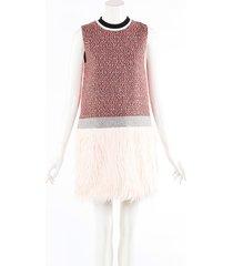msgm pink tweed faux fur sleeveless mini dress pink/orange sz: xs