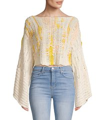 textured cotton blend cropped sweater